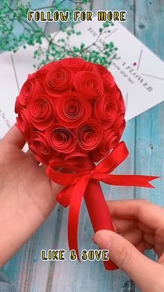 Cool Paper Crafts, Paper Flowers Craft, Paper Crafts Origami, Diy Crafts For Gifts, Flower Crafts, Creative Crafts, Diy Flowers, Decor Crafts, Rose Flowers
