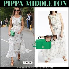 Pippa Middleton in white floral print tiered dress Wimbledon July 16 2017