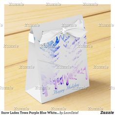 Shop Snow Laden Trees Purple Blue White Christmas Favor Box created by LeonOziel. Holiday Gifts, Holiday Cards, Christmas Cards, White Christmas, Christmas Holidays, Christmas Favors, Gift Wrapping Paper, Favor Boxes, White Elephant Gifts