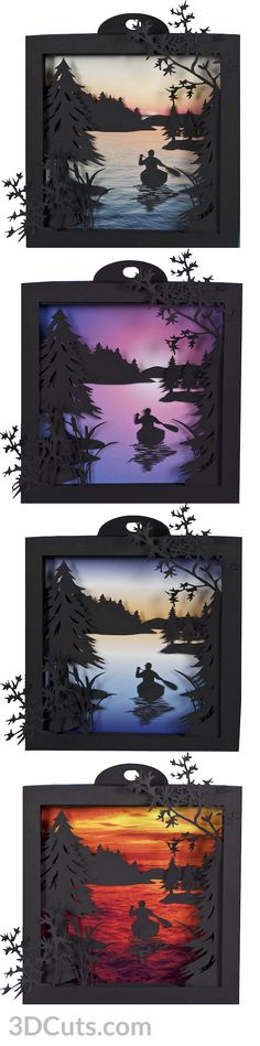Canoe at Sunrise Shadow Box in card stock by Marji Roy of 3dcuts.com. Cutting files in svg, pdf, png and dxf formats for Silhouette, Cricut, and other cutting machines