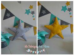 coussin étoile gris jane moutarde - décoration chambre enfant bébé hibou étoiles turquoise caraïbe jaune moutarde gris