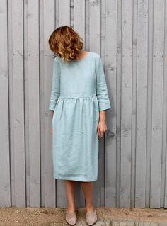 Ciel nuageux robe en lin robe Manche 3/4 robe coupe ample