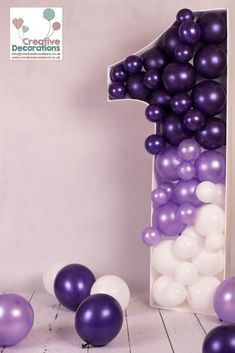 Purple Number 1 Balloon Figure A purple, lilac and white balloon figure. Perfect for a birthday party or to use in the background for a cake smash shoot. White Party Decorations, Birthday Balloon Decorations, Birthday Balloons, Birthday Nails, Table Decorations, Spongebob Birthday Party, Baby Boy 1st Birthday Party, Mermaid Birthday, Happy Birthday