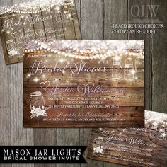 Mason Jar Bridal Shower Invitation - Rustic Wood with white mason jars and flowers - Country Wedding Invitations $25.00 ORDER NOW www.oddlotweddings.com