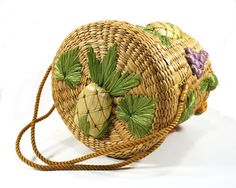 Vintage Cylindrical Woven Basket Natural Materials by MysticLily