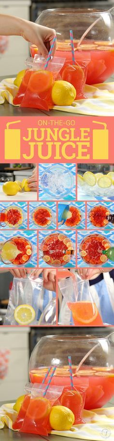 """We just came up with the most amazing boozed-up DIY ever. Perfect for the summer. INGREDIENTS: 4 cans of frozen lemonade concentrate, 1 cup of cranberry juice, 46oz Hawaiian Punch, 2L ginger ale, 1 46oz can of pineapple juice 2 lemons thinly sliced, 750ml Citron vodka, 750ml vodka, 2 cups triple sec, Ice, 4x6"""" zipper bags. Optional: use a hole punch to make holes above the seal of the bag. Tie each end of a long piece of twine to a hole, and wear your jungle juice for hands-free party time."""