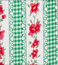 Flowers and Gingham Green Oilcloth