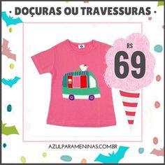 """Blusa: """"O caminhãozinho de sorvete"""".  Promoção nas peças candy!  Frete Grátis para todo o Brasil!  Peças já embaladas para presente sem custo adicional!! Para comprar, clique no link em nossa home ou acesse: www.azulparameninas.com.br .  #azulparameninas #roupasinfantis #roupascriativas #childrenclothes #creativeclothes #promo #sale #candy"""