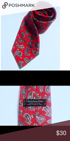 Men's tie Christian Dior Vintage Christian Dior red silk tie with paisley motif  1980s, USA.  Materialssilk Width9,5 cm Christian Dior Accessories Ties