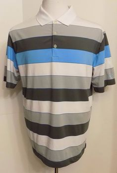 Nike Dri Fit Men's Polo Golf Shirt Blue Gray Whte Striped Short Sleeve Size L…