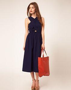 Enlarge ASOS Midi Dress With Cross Strap Bodice
