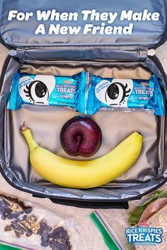 "What better way to put a smile on your kid's face than to put one in their lunchbox?! Nothing says ""eye love you"" quite like two tasty snacks (one to share, of course). Use your imagination to create faces that even Picasso would be jealous of."