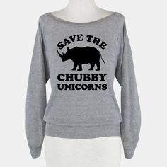 "This funny rhinoceros shirt features a rhino and the words ""save the chubby unicorns"" and is perfect for people who love animals, the environment, activists, recycling, rhinos, rhinoceroses, african... 