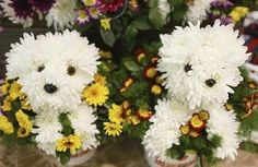 Two white fluffy puppy dogs made from flowers.