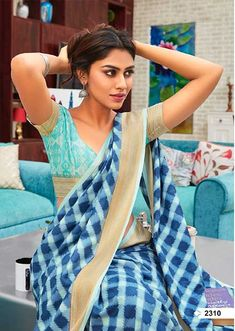 Flaunt your ethnic facade by draping yourself in this beautiful Dola silk saree By Lt Fabric by Florance. This saree comes in a fine Dola silk - Kajol Saree, Brocade Blouses, Saree Trends, Sari Fabric, Beautiful Saree, Beautiful Women, Indian Beauty Saree, Printed Linen, Printed Sarees