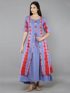 Mauve Red Cotton Two Piece Dress