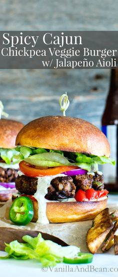 Make ahead, and freezer friendlySpicy Cajun Chickpea Veggie Burgers with Jalapeño Aioli will make your mouth water, just a little! Vegan   Gluten Free