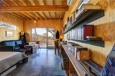 Llano Exit Strategy - modern - living room - austin - by Matt Garcia Design good shelves Small Modern Cabin, Modern Cabins, Modern Living, Tiny Living, Tiny House Community, Growing Old Together, Guest Room Decor, Guest Rooms, Cabin In The Woods