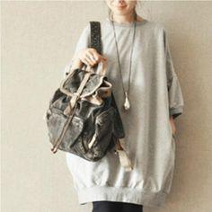 Gray And Black Long Fleece Causel T-Shirt Women Top
