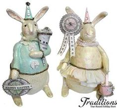 Mr. & Mrs Bunny figurines <>