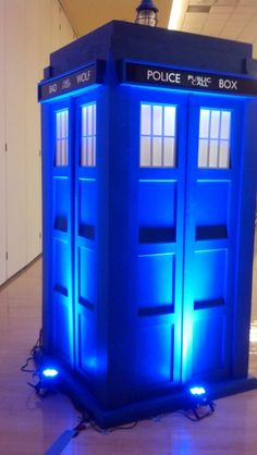 Tardis Booth built by graphic designer Scott Bolyard from Bowling Green, Ohio (it took 3 months with 3 gentlemen building it in their spare time).  We provided the blue LED uplighting.  It weighs about 400 pounds but they can break it down into 4 pieces for space travel.  Scott and his wife were introduced coming out of the Tardis Booth.  The most creative item that I have ever seen built for a wedding reception. For 2016: Now available for rent!