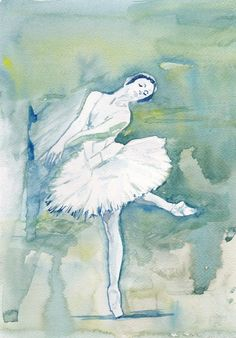 Art Watercolor Painting - Print my Original Painting 8x11 Dance Ballet Ballerina Autumn Girl Home Decor Illustration blue and olive green    Size - 8x11
