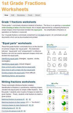 First grade fractions worksheets