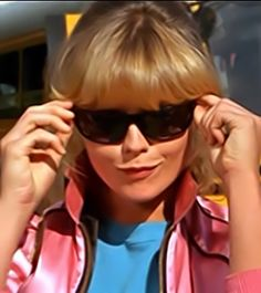 """Michelle Pfeiffer (Stephanie Zinone), Grease Pink Lady pledge is to act cool, to look cool and to be cool. Til death do is part """"Think Pink"""" 80s Movies, Movie Tv, Michel Pfeiffer, Grease 1, Grease Is The Word, Physical Comedy, Biological Father, Pink Lady, Time Warp"""