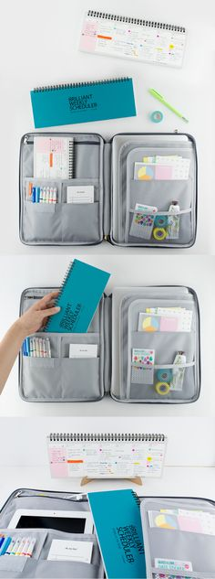 This organization tool set that includes a beautiful pouch and planner! The Brilliant Collection is a match made in heaven. The Brilliant Weekly Scheduler lets you plan and see your (Kickstarter Products Bullet Journal) Back To School, High School, Tool Organization, Match Making, School Hacks, Sticky Notes, Getting Organized, School Supplies, Just In Case