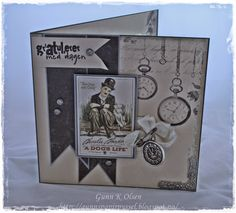 Gunns Papirpyssel Birthdaycard, bursdag, kort, card, Charlie Chaplin, Pion Design, papir, paper, scrapbooking, scrapping