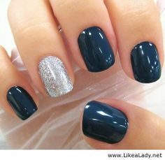 Navy mani and silver glitter accent