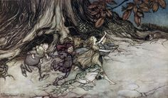 Arthur Rackham ~ When They Think You are Not Looking… ~ Peter Pan in Kensington Gardens by J. M. Barrie ~ 1906 ~ via