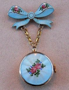 Vintage Guilloche and Sterling Watch Pin