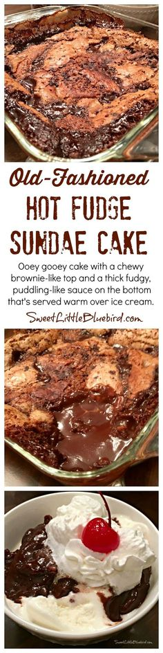 This super easy cake with a chewy brownie-like top and a thick fudgy puddling-like sauce on the bottom is so delicious and become even more when served warm over ice cream.