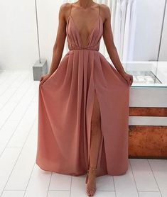 SIMPLE A-LINE BACKLESS LONG PROM DRESS, EVENING DRESS#longpromdress#promdress#eveningdress#
