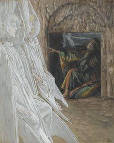 James Tissot - Madeleine dans le tombeau interroge les anges