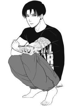 roxoah: Got inspired by that post that said 'draw your fav snk char in your clothes'. Have a Levi in a nerd MGS shirt and sweatpants. He was probably playing pokemon before he had to pose. Eren And Mikasa, Levi X Eren, Levi Ackerman, Amazing Drawings, Amazing Art, Anime Love, Anime Guys, Manga Anime, Yuri