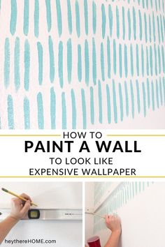Easy DIY accent wall creates the look of wallpaper for less! #fauxwallpaper #accentwall #paintedaccentwall #diyaccentwall #geometricaccentwall