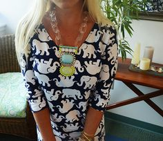 Lilly Pulitzer Eliza V-Neck T-Shirt Dress in Tusk In Sun, with a @baublebar necklace
