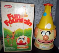 1978 WHAM-O Clown ~FUN FOUNTAIN~ Sprinkler Hose Head, Hat, Box Old Water Toys  #WhamO