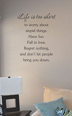Life is too short ot worry about stupid things. Have fun. Fall in love. Regret nothing. and don't let people bring you down. Vinyl Wall Art Decal Sticker JS Artworks http://www.amazon.com/dp/B00NP7BYFK/ref=cm_sw_r_pi_dp_k8Bjub19AT4VR