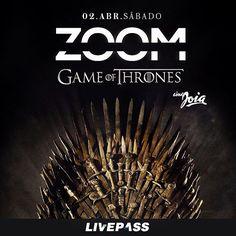 No dia 2 de Abril estreia a Festa Zoom, no #cinejoia que vai homenagear as séries e filmes que a gente ama. E a primeira edição não podia ter outro tema: Game of Thrones! Vai perder essa? #zoom #festazoom #gameofthrones #livepass http://www.livepass.com.br/event/zoom/