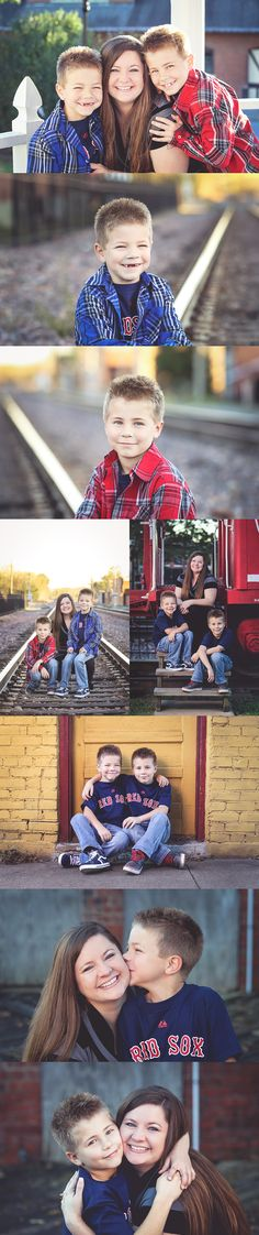 Family pictures at the train depot. Family pose inspiration. Mother and son picture ideas. Taken by Summer Arlint Photography in Pleasant Hill, MO