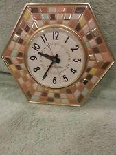 VTG MID CENTURY RETRO KITCHEN GE WALL CLOCK RARE MOSAIC TILES Works great