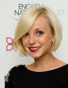 An adorable jaw-length bob for fine hair - slightly shorter in the back, with very subtle layering throughout.