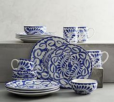 Mexican Style Dinnerware   Puebla Dinnerware Collection   Pottery Barn Bone China Dinnerware, Stoneware Dinnerware Sets, Tableware, Blue Dinnerware Sets, Serveware, Pottery Barn, Slab Pottery, Table Throw, Wall Candle Holders