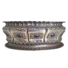 Large Buccellati Sterling Silver Lapis Mounted Centerpiece Bowl 20th c.   From a unique collection of antique and modern centerpieces at http://www.1stdibs.com/furniture/dining-entertaining/centerpieces/
