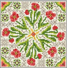 . Biscornu Cross Stitch, Cross Stitch Pillow, Cross Stitch Charts, Cross Stitch Designs, Cross Stitch Embroidery, Embroidery Patterns, Cross Stitch Patterns, Loom Patterns, Flower Chart
