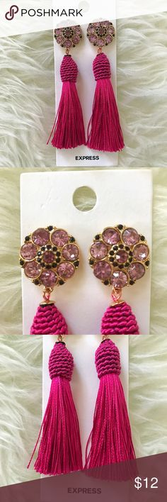 "NWT Hot pink tassel earrings New with tags earrings from Express! Jeweled base with hot pink tassels. 4"" total in length. Express Jewelry Earrings"