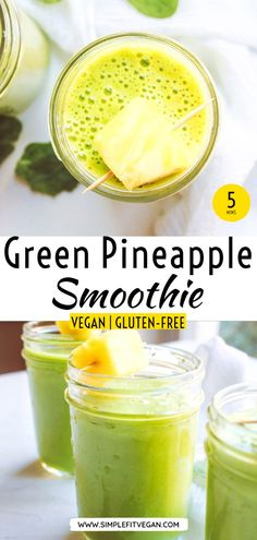 Green Pineapple Smoothie – SimpleFitVegan Delicious, tropical green smoothie to help with weight loss and fat burning. It's full of antioxidant to help you detox your body. Drink it as a snack or a full meal replacement. Smoothie Bowl Vegan, Smoothies Vegan, Smoothies Detox, Kiwi Smoothie, Coconut Smoothie, Green Smoothie Recipes, Vegetable Smoothies, Vegan Snacks, Vegan Recipes